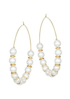 Kenneth Jay Lane Faux Pearl Hoop Earrings