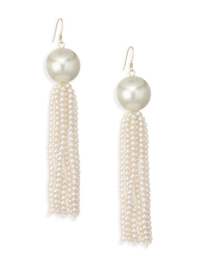 Kenneth Jay Lane Faux Pearl Tassel Earrings