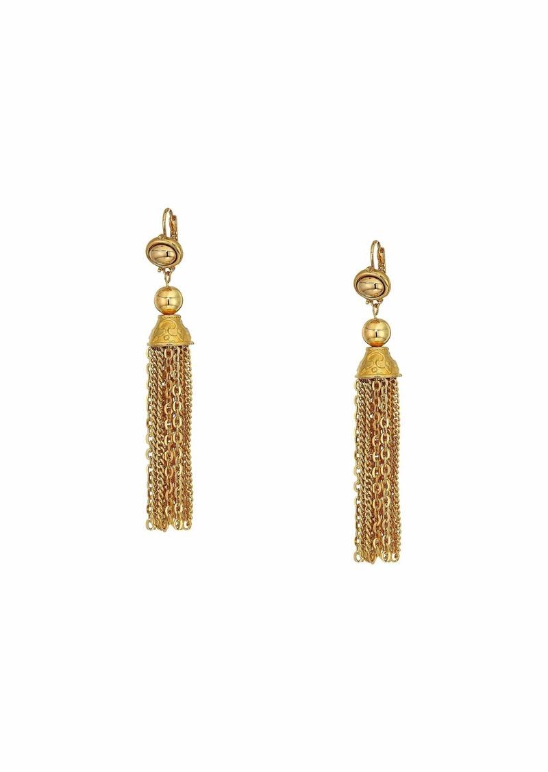 Kenneth Jay Lane Gold Chain Tassel Fishhook Earrings