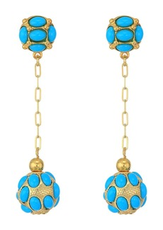 Kenneth Jay Lane Gold Chain/Turquoise Cabs Top/Drop Ball Pierced Earrings