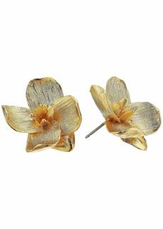 Kenneth Jay Lane Gold Flower Pierced Earrings