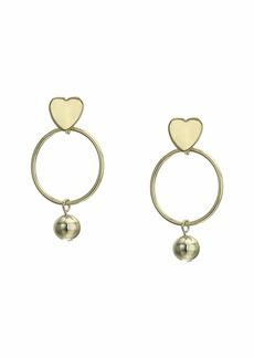 Kenneth Jay Lane Gold Heart Top with Round Hoop/Ball Drop Pictured Earrings