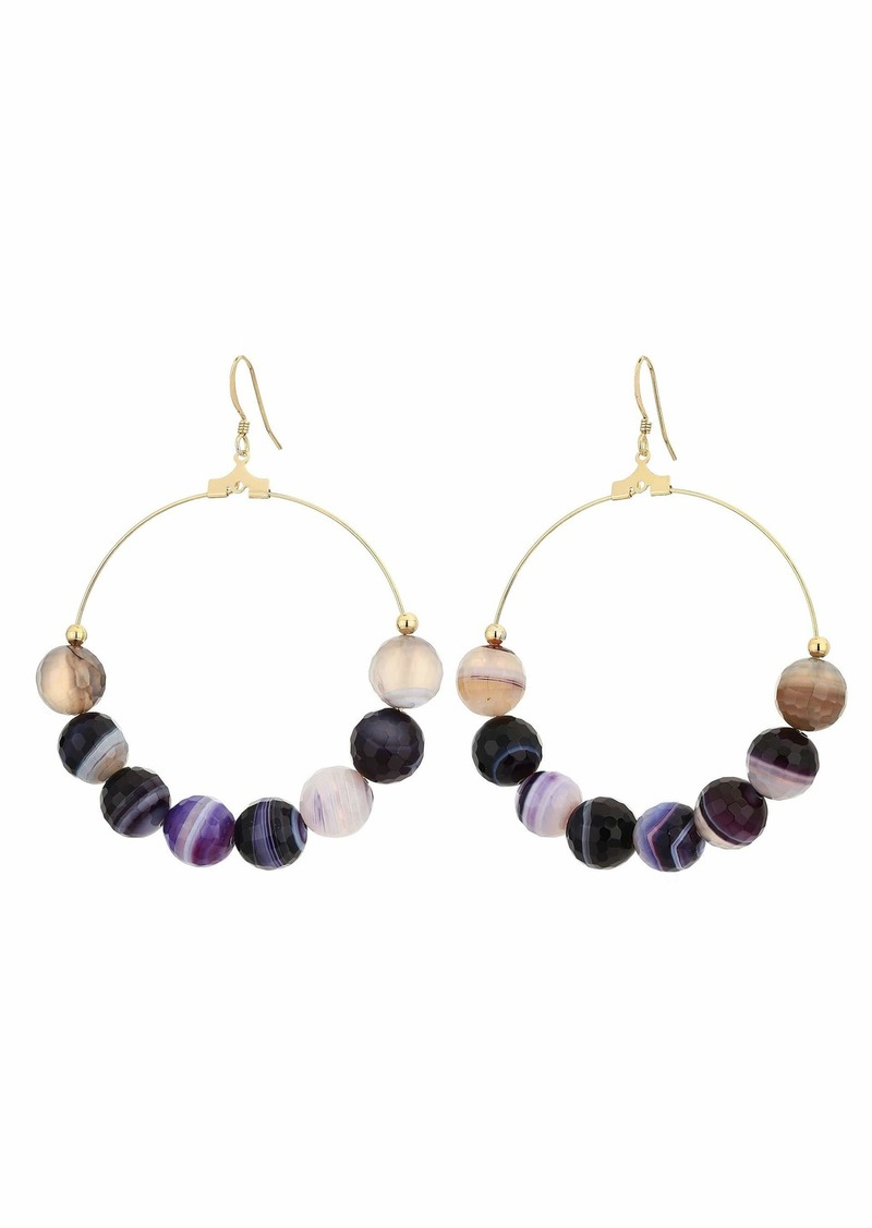 Kenneth Jay Lane Gold Hoop Purple Agate Bead Fish Hook Earrings