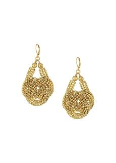 Kenneth Jay Lane Gold Seedbead Knotted Fishhook Earrings