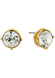 Kenneth Jay Lane Gold Setting 12mm Round Crystal Stone Pierced Earrings