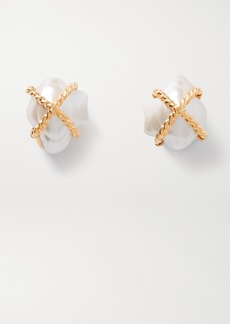 Kenneth Jay Lane Gold-tone Faux Pearl Clip Earrings