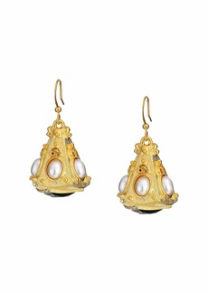 Kenneth Jay Lane Gold Triangle with White Pearl Cabs Top/Jet Bottom Fishhook Earrings