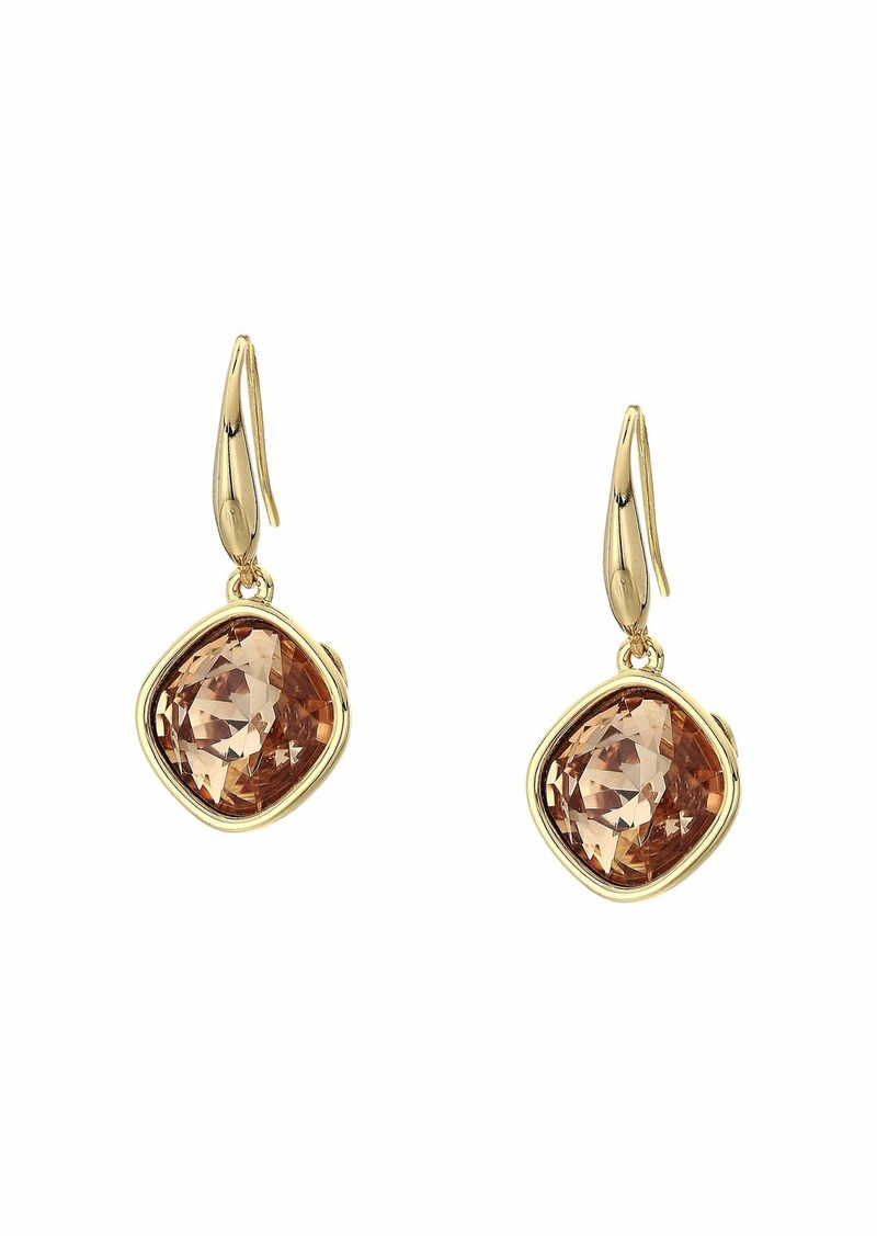 Kenneth Jay Lane Gold w/ 10 mm Faceted Square Light Colorado Topaz Stone Pierced Earrings