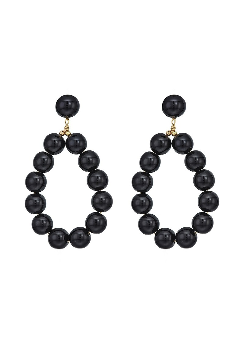 Kenneth Jay Lane Gold w/ Black Balls Hoop Pierced Earrings