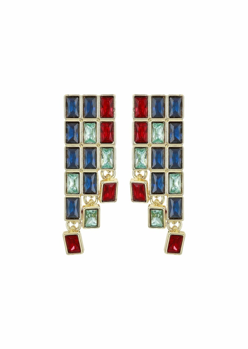 Kenneth Jay Lane Gold w/ Sapphire/Aqua/Ruby Baguette Stones Post Earrings