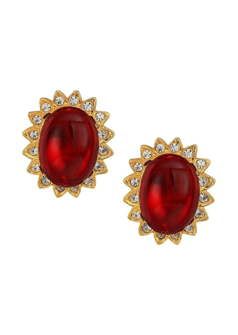 Kenneth Jay Lane Gold with Crystal Trim Ruby Cabochon Center Clip Earrings