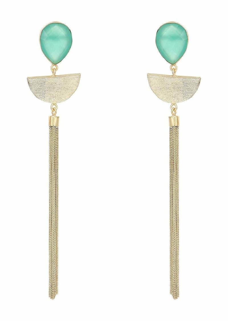 Kenneth Jay Lane Gold with Jade Teardrop Top/Semicircle/Tassel Pierced Earrings