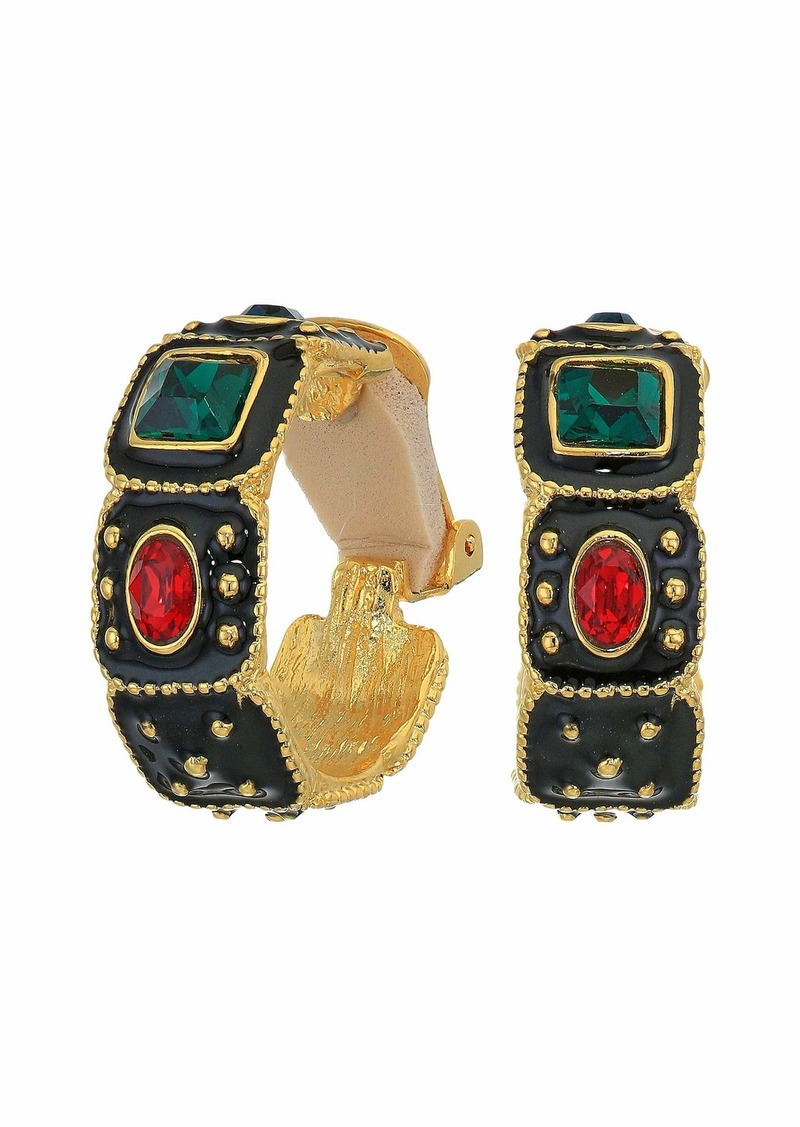 Kenneth Jay Lane Gold/Black Enamel/Multicolor Square Oval/Square Hoop Clip Earrings
