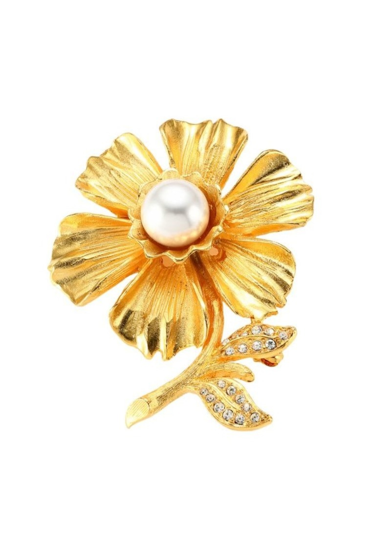Kenneth Jay Lane Goldplated Faux-Pearl & Crystal Flower Pin