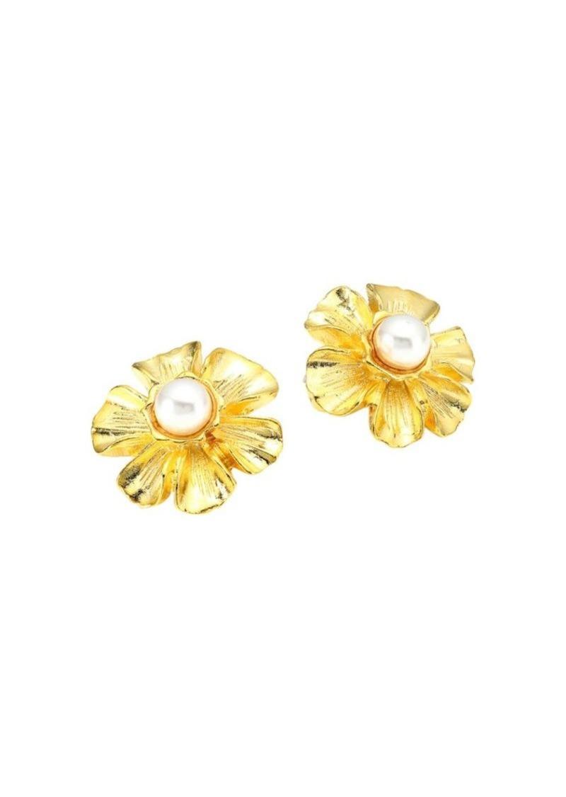 Kenneth Jay Lane Goldplated Faux-Pearl Flower Stud Earrings