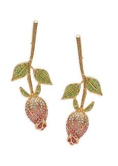 Kenneth Jay Lane Goldplated, Peridot, & Crystal Rose Flower Earrings