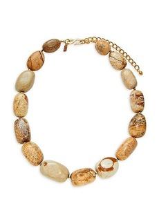 Kenneth Jay Lane Goldtone & Jasper Collar Necklace