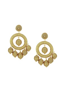 Kenneth Jay Lane Graduated Gold Thread Wrapped Balls Drops w/ Dome Top Post Earrings