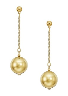 "Kenneth Jay Lane 20mm Polished Gold Ball 1.5"" Chain With Ball Top Post Earrings"