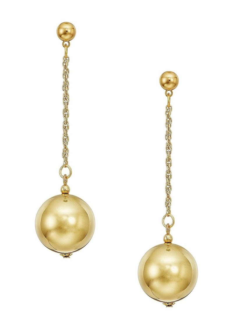 """Kenneth Jay Lane 20mm Polished Gold Ball 1.5"""" Chain With Ball Top Post Earrings"""