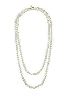 """Kenneth Jay Lane 60"""" 8 mm Cultura Pearl and Gold Toggle Clasp Necklace"""