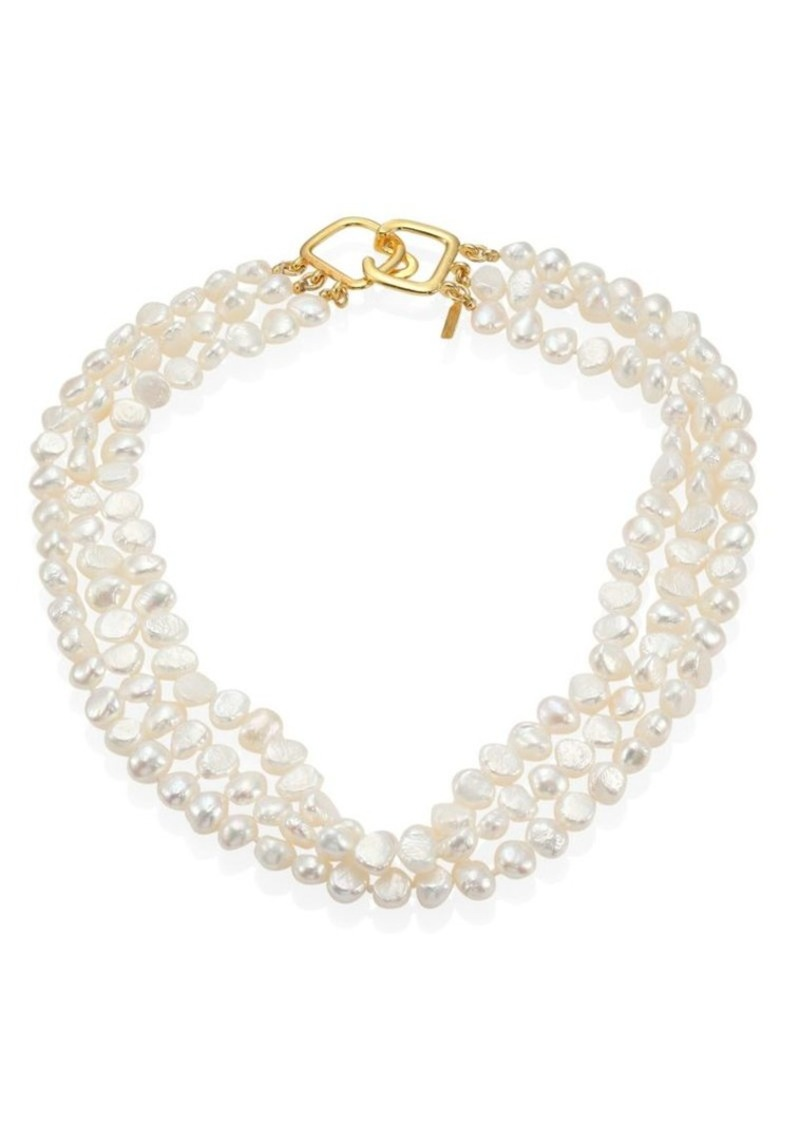 Kenneth Jay Lane 6MM White Baroque Cultured Freshwater Pearl Multi-Strand Necklace