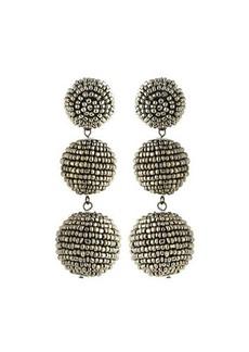 Kenneth Jay Lane Beaded Gray Triple-Drop Earrings