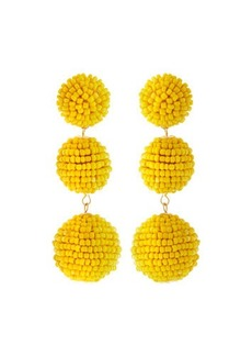 Kenneth Jay Lane Beaded Triple-Ball Drop Earrings