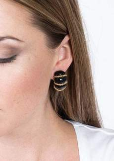 Kenneth Jay Lane Black Resin Gold Wire Wrapped Clip Earrings