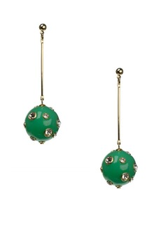 Kenneth Jay Lane Candy Ball Crystal and Silver Bar Drop Earrings