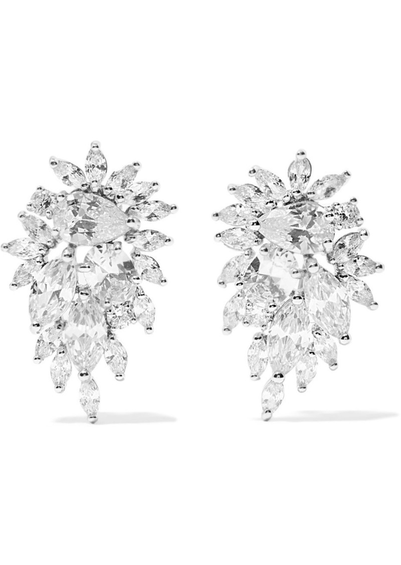 Kenneth Jay Lane Cer Rhodium Plated Cubic Zirconia Earrings