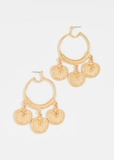 Kenneth Jay Lane Coin Drop Hoop Earrings