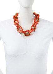 Kenneth Jay Lane Coral Enamel & Gold-Plated Link Necklace