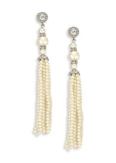 Kenneth Jay Lane Crystal & Faux-Pearl Tassel Earrings