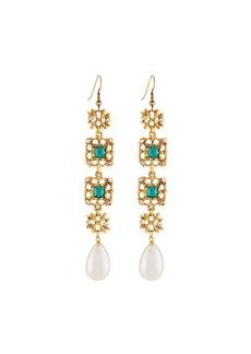 Kenneth Jay Lane Emerald Crystal & Pearly Drop Earrings