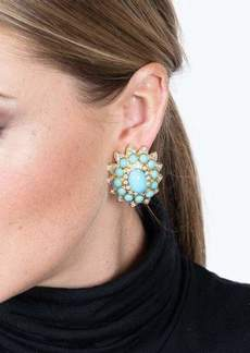 Kenneth Jay Lane Faceted Topaz Center Clip Earrings