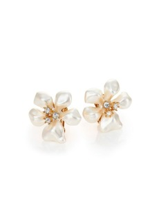Kenneth Jay Lane Faux Pearl & Crystal Flower Clip-On Earrings