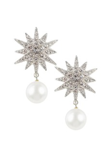Kenneth Jay Lane Faux Pearl & Crystal Starburst Earrings