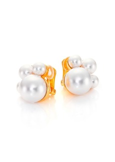 Kenneth Jay Lane Faux Pearl Cluster Clip Earrings