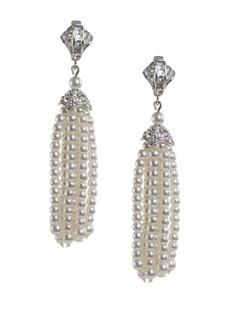 Kenneth Jay Lane Faux Pearl Drop Tassel Earrings