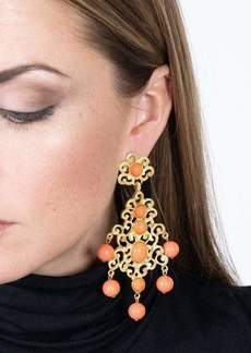 Kenneth Jay Lane Filagree & Coral Drop Clip Earring