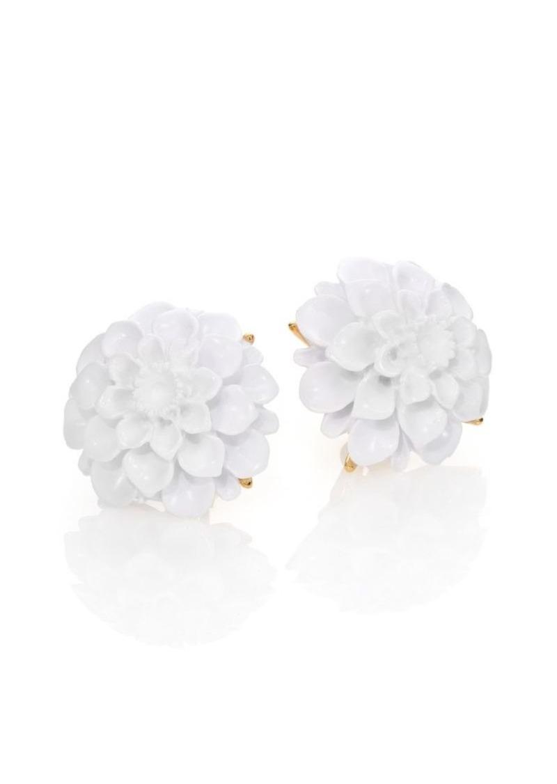 Flower Resin Clip On Earrings