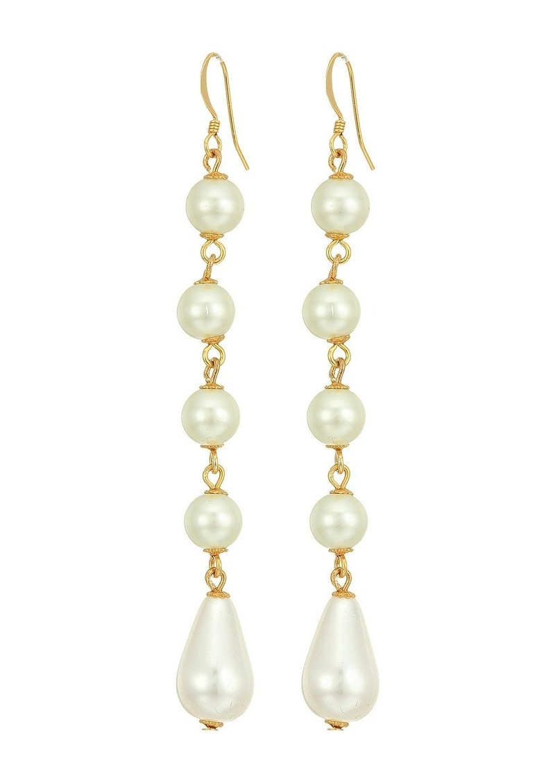 Kenneth Jay Lane Gold and Cultura White Pearl 5 Drop Fishhook Earrings
