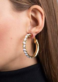 Kenneth Jay Lane Gold And White Cabochon Hoop Clip Earrings