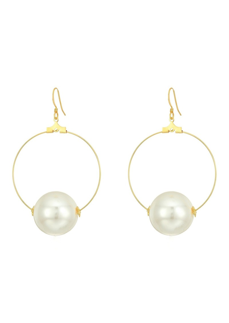 9a8ab03bf Gold Hoop with 20mm White Pearl Ball Fishhook Ear Earrings. Kenneth Jay Lane