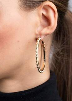Kenneth Jay Lane Gold w/ White Leather Pierced Hoop Earrings
