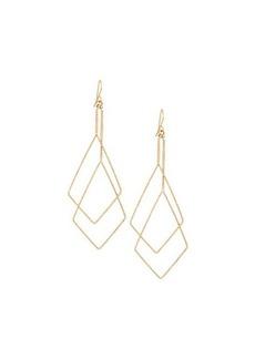 Kenneth Jay Lane Golden Double Open Diamond-Shaped Wire Drop Earrings