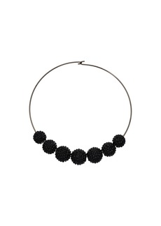 Kenneth Jay Lane Gunmetal Wire Jet Pave Bead Necklace