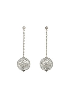 Kenneth Jay Lane Pave Ball On Silver Chain Drop Post Earrings