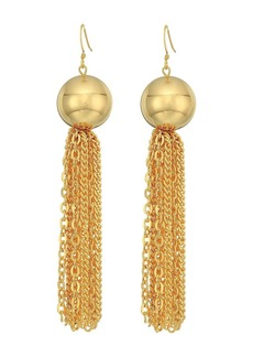 Kenneth Jay Lane Polished Gold Ball with Tassel Fishhook Earrings